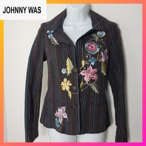 Johnny Was Women's Jacket Embroidered Floral